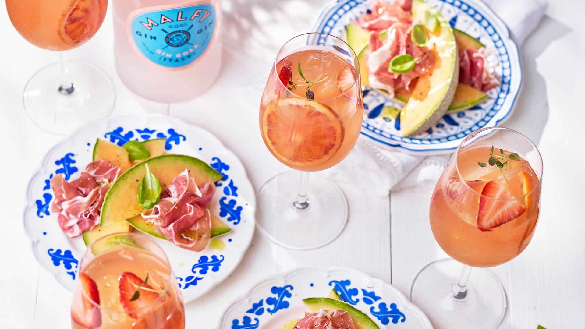 Melon Proscuitto & gin rosa